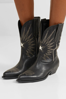 Golden Goose Wish Star Low Embroidered Textured-leather Boots - Black