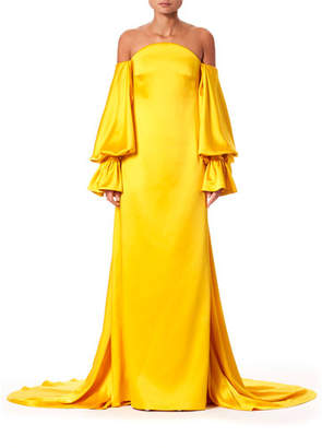 Carolina Herrera Off-The-Shoulder Balloon-Sleeve Train-Back Gown