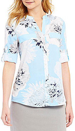 Calvin Klein Calvin Klein Spaced Floral Print Roll Sleeve Blouse