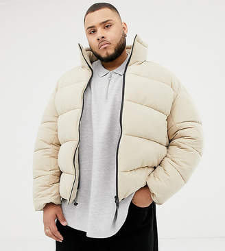 Asos Plus boxy puffer jacket in beige