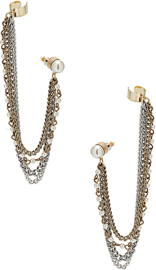 Topshop Double Pearl Ear Cuff