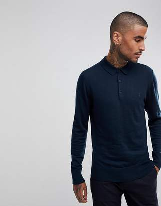 AllSaints Knitted Polo Shirt In 100% Merino Wool