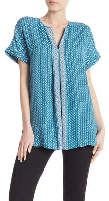 Max Studio Split Collar Printed Blouse