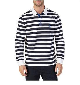 Nautica Long Sleeve Stripe Rugby Bright White