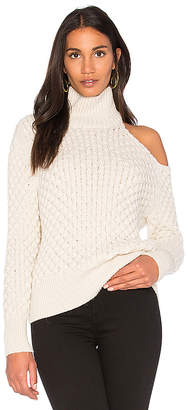 Nude Turtle Neck Cut Out Shoulder Sweater