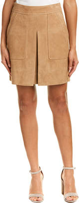 Vince Inverted Pleat Suede Skirt