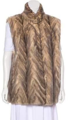 Bill Blass Chevron Mink Fur Vest