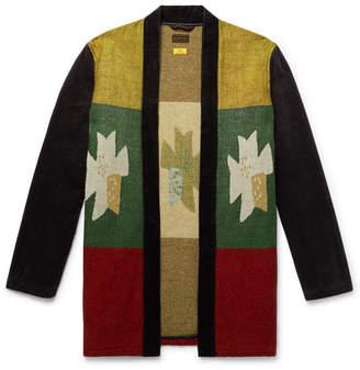 KAPITAL Shawl-Collar Intarsia Cotton-Blend And Corduroy Cardigan
