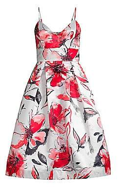 Parker Black Black Women's Sana Floral Satin Sleeveless Dress