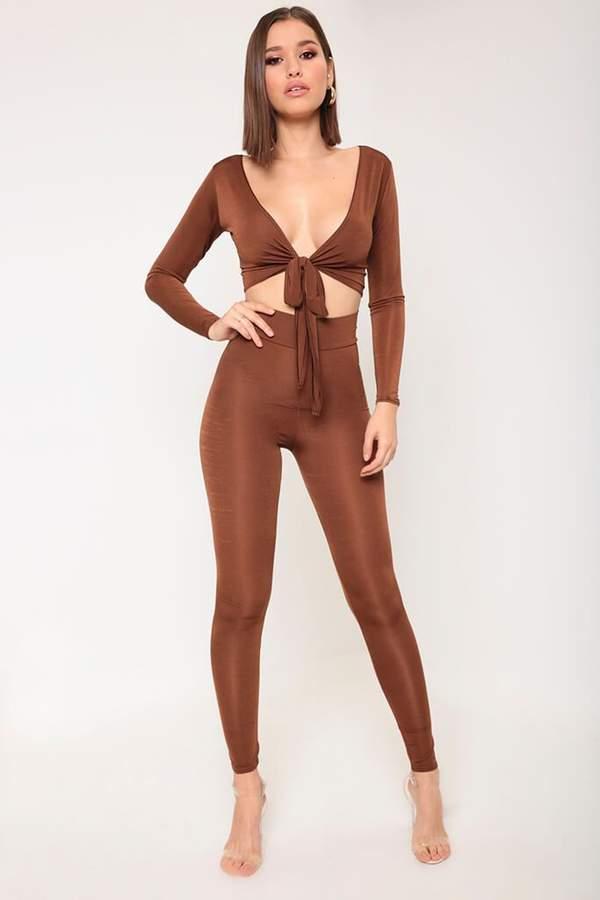 Buy Isawitfirst Brown Slinky Leggings!