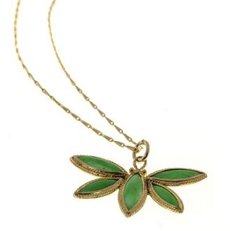 18K Yellow Gold with Jadeite Jade Butterfly 5 Stone Pendant Vintage Necklace