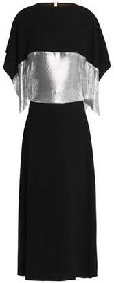 J.W.Anderson Cape-Effect Metallic-Paneled Cutout Crepe Maxi Dress