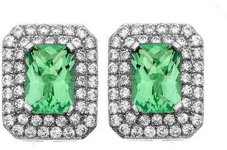 5th & Main Platinum-Plated Sterling Silver Cushion-Cut Green Obsidian Pave CZ Earrings
