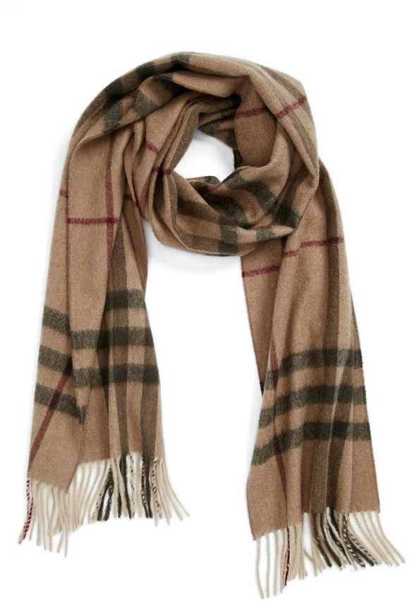 Burberry Giant Check Fringed Cashmere Muffler