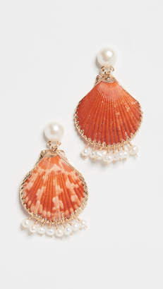 Mercedes Salazar Shell Earrings with Dangling Pearls