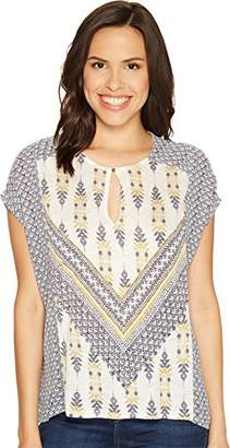 Lucky Brand Women's Printed Mixed Blouse