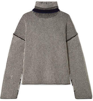 Theory Striped Cashmere Turtleneck Sweater - Black