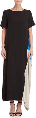 Pierantonio Gaspari Short Sleeve Silk Blend Maxi Dress