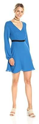 Paris Sunday Women's Blouson Sleeve V Neck Fit and Flare Dress