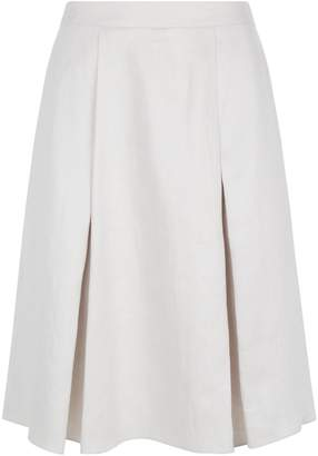 Emporio Armani Pleated Linen A-Line Skirt