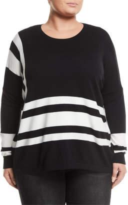 Neiman Marcus Plus Oversized Angle-Striped Sweater, Plus Size