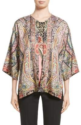 Etro Leopard & Paisley Reversible Silk Jacket