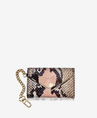 GiGi New York Mini Envelope With Clip In Rose Wash Embossed Python