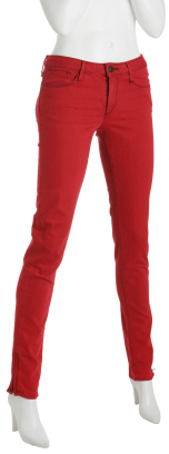 Earnest Sewn red stretch 'Harlan' skinny zip jeans