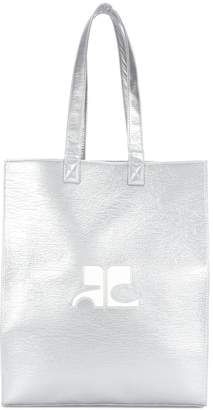 Courreges logo metallic tote