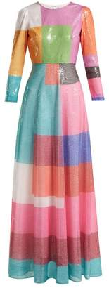 Mary Katrantzou Rosalba Colour Block Sequined Dress - Womens - Multi