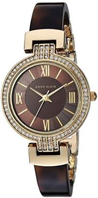 Anne Klein Women's Swarovski Crystal Accented Gold-Tone and Tortoise Resin Bangle Watch