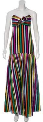 Caroline Constas Striped Strapless Dress Black Striped Strapless Dress