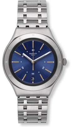 Swatch Men's Dirigent 37mm Steel Bracelet & Case Swiss Quartz Blue Dial Analog Watch YGS472G