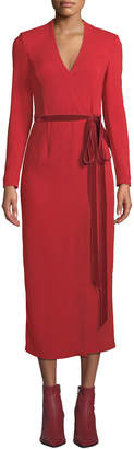 ADAM by Adam Lippes Long-Sleeve Midi Wrap Dress w/ Velvet Belt