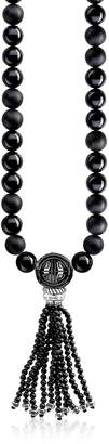 Thomas Sabo Power Blackened Sterling Silver Men's Necklace w/Obsidian Matt and Polished Tassel