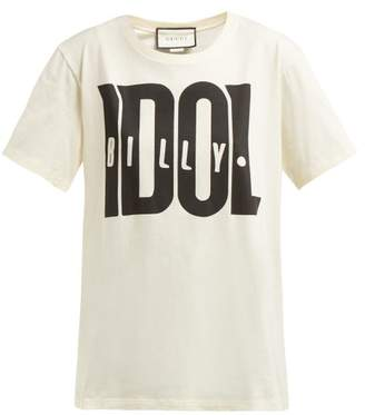 Gucci Billy Idol Printed Cotton T Shirt - Womens - Ivory Multi