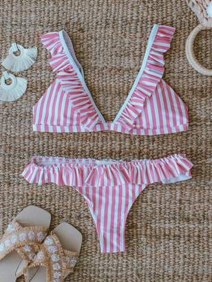 Goodnight Macaroon 'Adelia' Pink Striped Ruffle Bikini