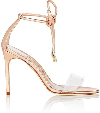 Manolo Blahnik Women's Estro Leather & PVC Ankle-Tie Sandals $745 thestylecure.com