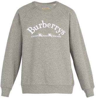Burberry Logo Embroidered Cotton Blend Sweatshirt - Mens - Grey