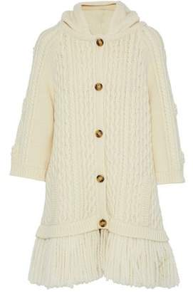RED Valentino Woman Fringe-trimmed Cable-knit Wool Hooded Cardigan Cream Size XS