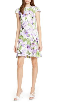 Alice + Olivia Kirby Ruffle Hem Cap Sleeve Stretch Cotton Dress