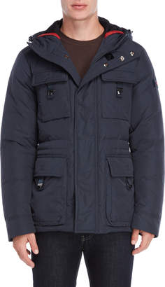 Peuterey Navy Buckle Flap Pocket Down Coat