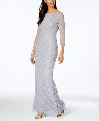 Adrianna Papell 3/4-Sleeve Embellished Crosshatch Gown