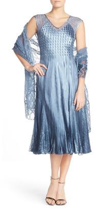KOMAROV Lace Accent Charmeuse A-Line Dress & Chiffon Shawl (Petite) $418 thestylecure.com