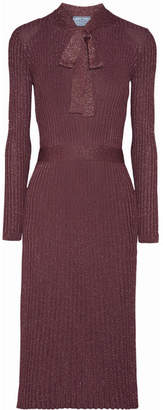 Prada Pussy-bow Metallic Ribbed-knit Midi Dress - Grape