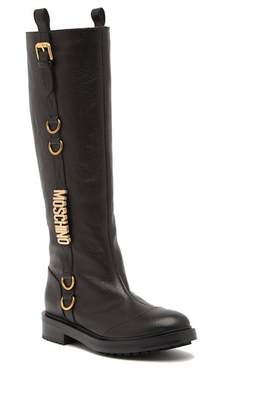 Moschino Logo Side Buckle High Boot