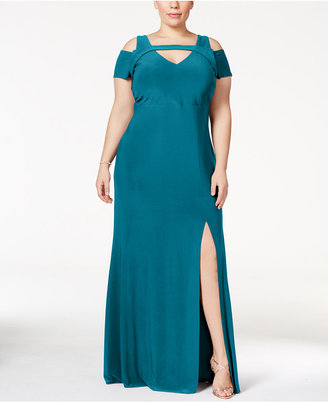 Nightway Plus Size Cold-Shoulder Keyhole Gown $109 thestylecure.com