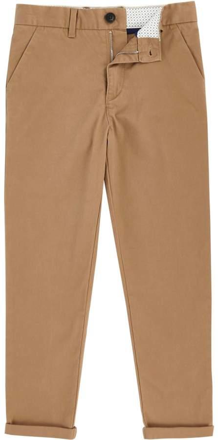 Boys Tan slim fit chino trousers