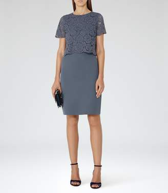 Reiss Darby Lace And Neoprene Dress