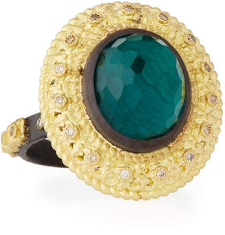 Armenta Old World Oval Topaz & Malachite Doublet Stacking Ring w/ Champagne Diamonds, Size 7